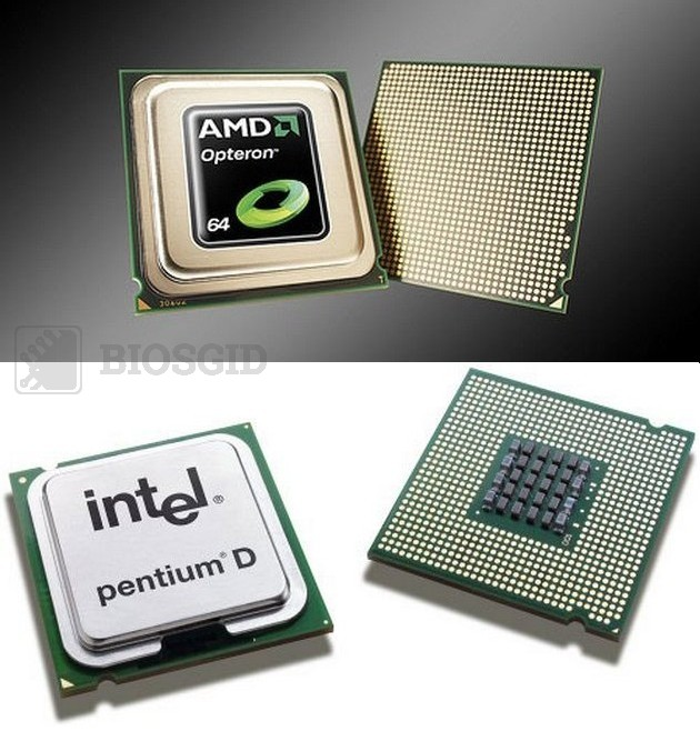 Фото CPU AMD Opteron и Intel Pentium D