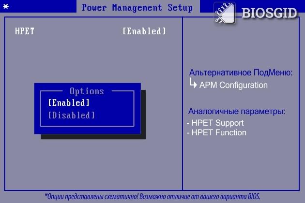 Пареметр - HPET