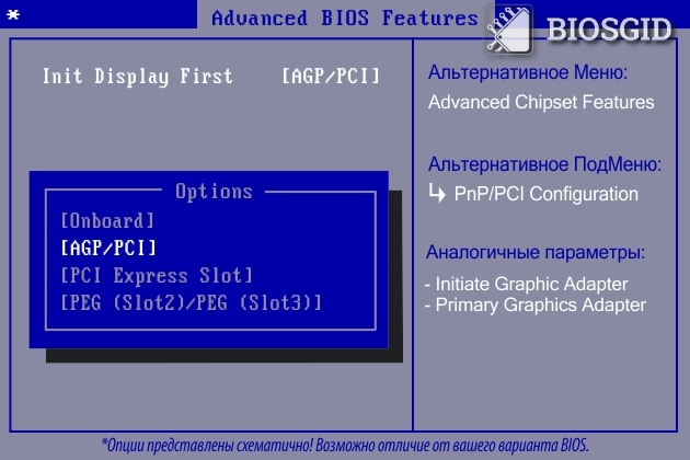 Параметр - Init Display First
