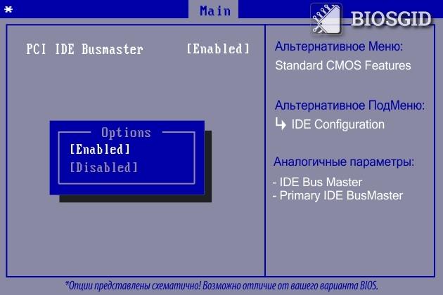 Параметр - PCI IDE Busmaster