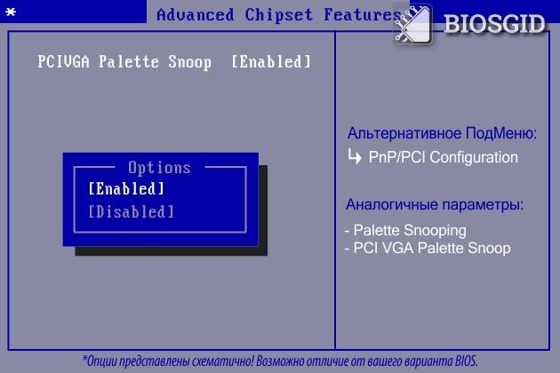 Параметр - PCI/VGA Palette Snoop