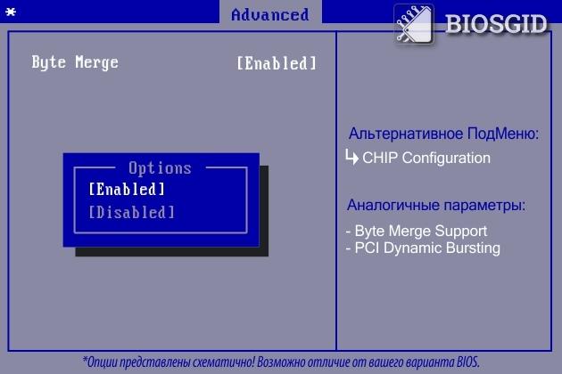 Параметр - Byte Merge