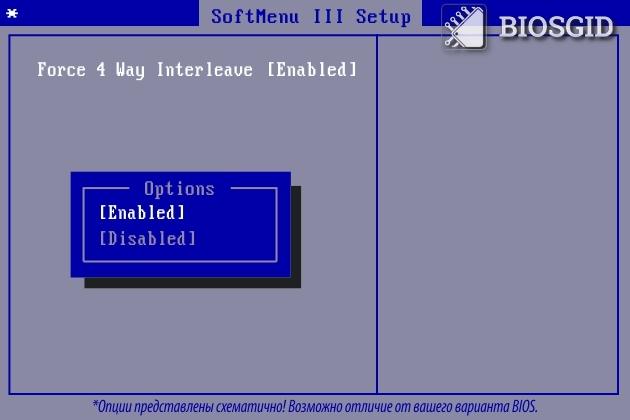 Параметр - Force 4 Way Interleave