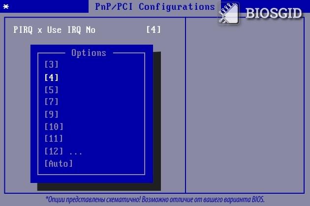Параметр - PIRQ x Use IRQ No