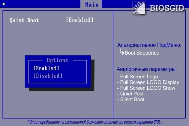 Параметр - Quiet Boot