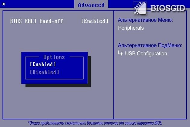Параметр - BIOS EHCI Hand-off