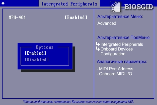 Параметр - MPU-401