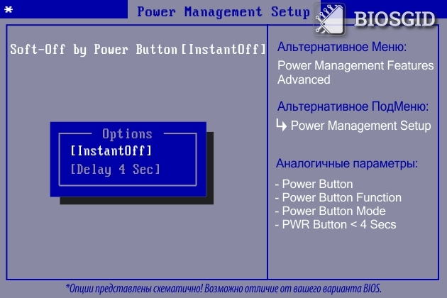 Параметр - Soft-Off by Power Button