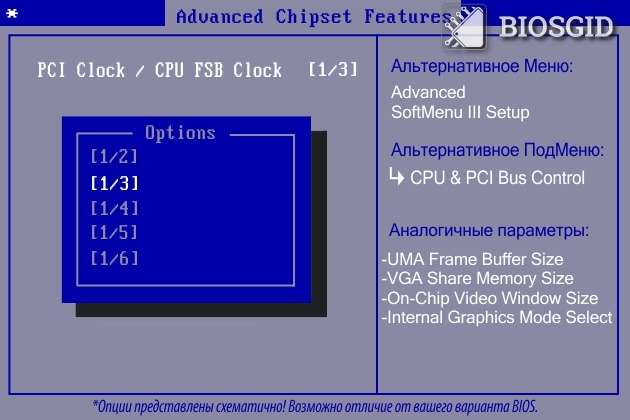 Параметр - PCI Clock / CPU FSB Clock