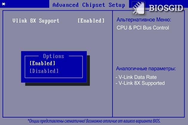 Параметр - Vlink 8X Support