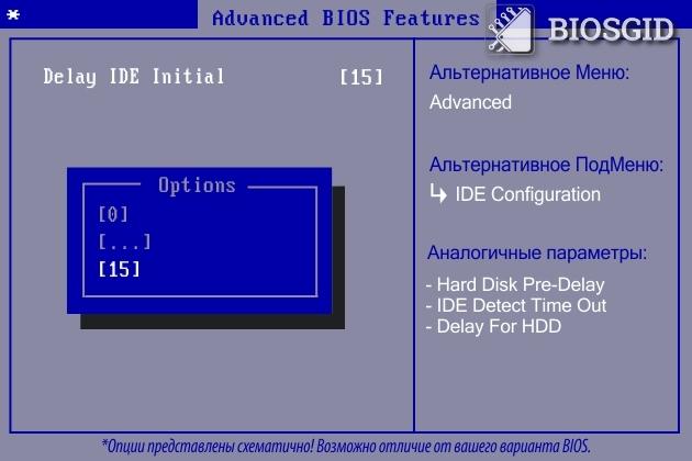 Параметр - Delay IDE Initial