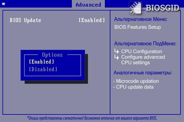 Параметр - BIOS Update