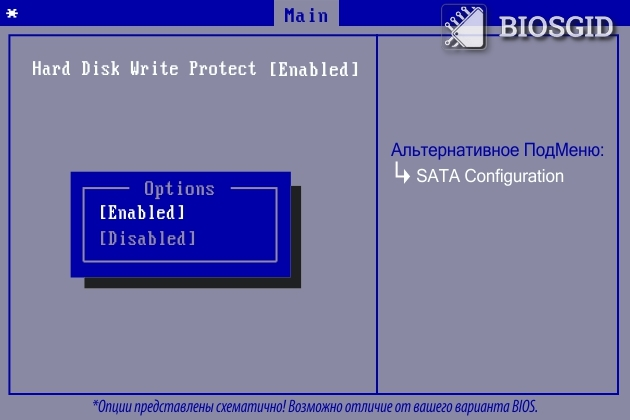 Параметр - Hard Disk Write Protect
