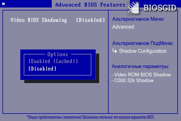 Параметр - Video BIOS Shadowing