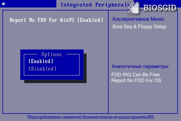 Параметр - Report No FDD For Win95