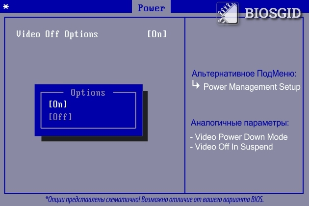 Параметр - Video Off Options